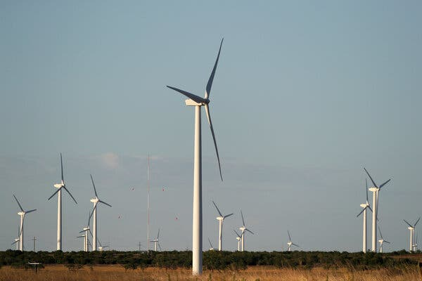 Wind turbines near Sweetwater, Texas in 2020. Texas Gov. Greg Abbott claimed that the electricity blackout crisis in his state was because wind and solar power failed.