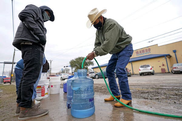 A line formed at a park in Houston that had running water on Thursday, with people filling bottles and other containers with water.