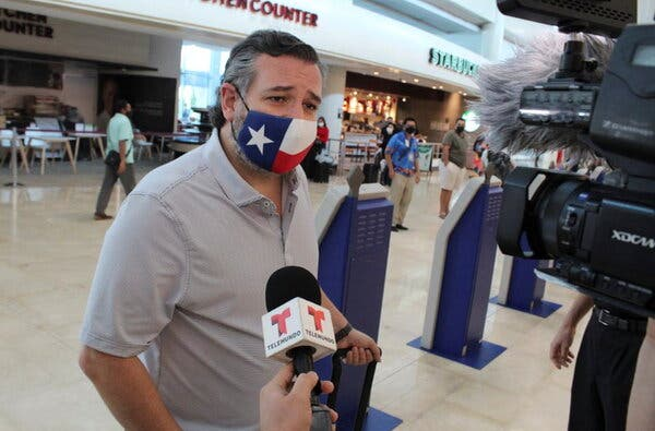 Senator Ted Cruz of Texas spoke to a reporter at the airport before returning from Cancún last week.