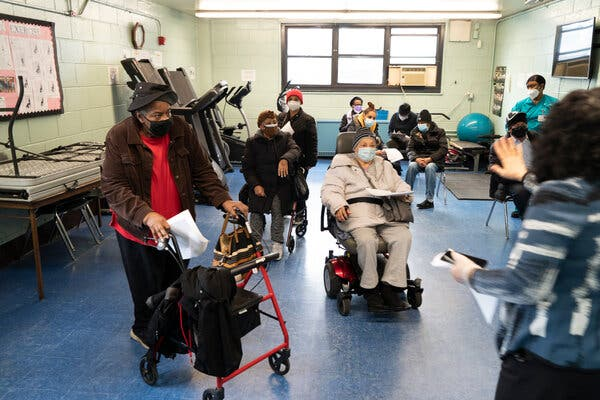 The Andrew Jackson Center, a vaccine site in the Bronx. President Biden has pledged to ensure that underserved communities have what they need, like masks, to protect themselves from the virus.