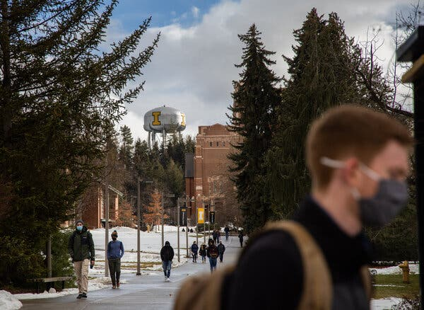 Students walk through campus at the University of Idaho late last month in Moscow, Idaho.
