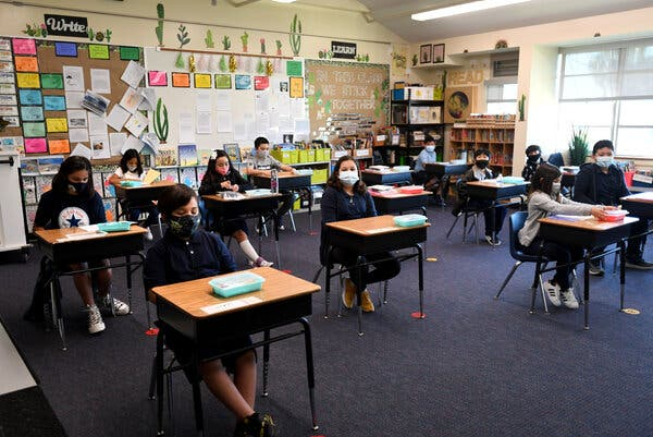 Fourth graders at Alvarado Elementary, a school in Long Beach, Calif., are back in the classroom on Monday for their first day of in-person learning in more than a year.