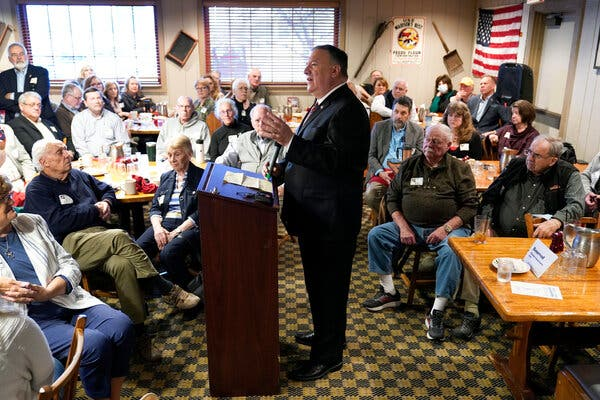 Mike Pompeo, the former Secretary of State, spoke to a Republican group at a diner in Urbandale, Iowa, on Friday.