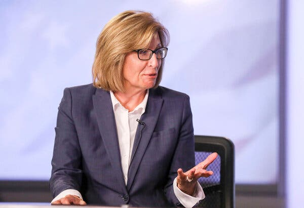 Rita Hart during a debate in Cedar Rapids, Iowa.