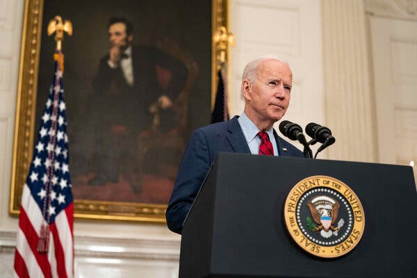 President Joe Biden speaking about the shootings in Boulder, Colo., at the White House on Tuesday.