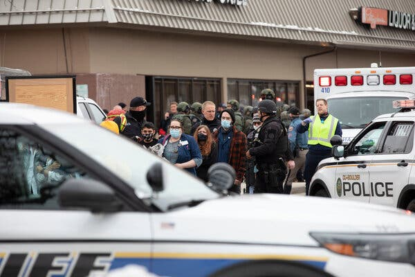 Outside the King Soopers supermarket in Boulder, Colo., after shootings that left 10 people dead on Monday.