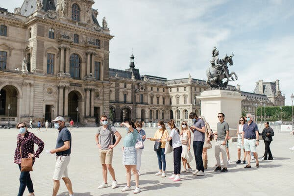 A line at the Louvre in Paris last summer. The European Union is allowing fully vaccinated Americans entry into the bloc this summer.