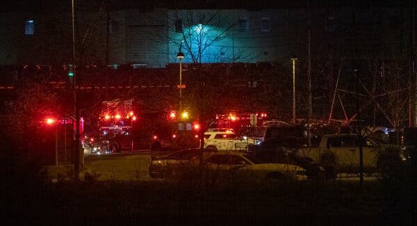 The scene of the shooting at a FedEx facility in Indianapolis on Thursday.