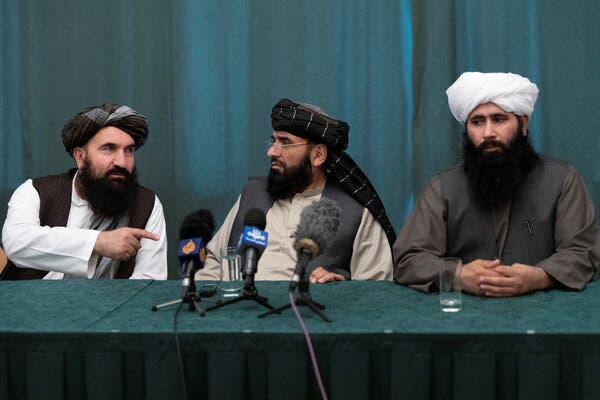 Representatives of the Taliban at a news conference in Moscow last month.