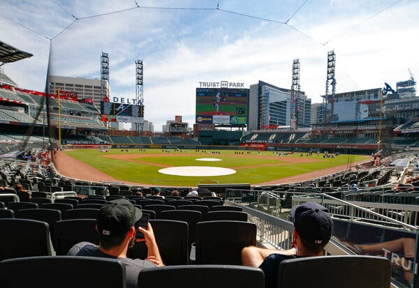 The Atlanta Braves played the Miami Marlins at home in October. Major League Baseball is facing calls to move the All-Star Game out of Atlanta over Georgia's new law that restricts access to voting.