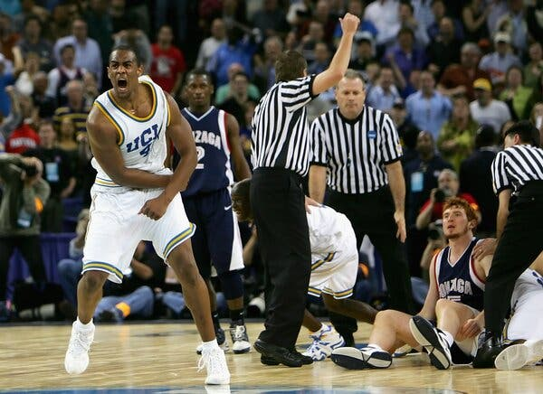 Arron Afflalo celebrated after a turnover from the Gonzaga Bulldogs during the final moments of the game.
