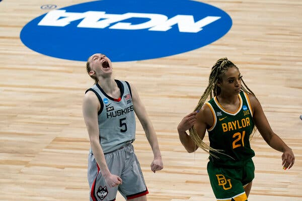 Paige Bueckers celebrates getting into the Final Four.