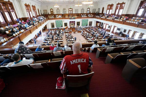 The Texas House of Representatives debated the voting bill in Austin on Thursday.