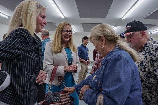State Senator Amanda Chase, a firebrand who was censured by fellow lawmakers and has visited former President Donald J. Trump's Mar-a-Lago resort, hoping for an endorsement, with supporters in Remington, Va.
