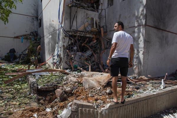 A residential building in Ashdod in southern Israel on Monday after it was hit by rockets fired from the Gaza Strip.