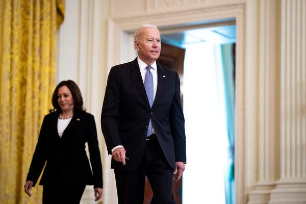 """President Biden with Vice President Kamala Harris on Monday. The president """"expressed his support for a cease-fire"""" in the Israeli-Palestinian conflict during a call with Israel's prime minister, the White House said."""