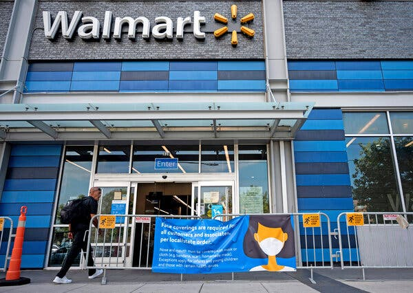 A Walmart in Washington, D.C., last year. The retail giant is one of a number of major U.S. companies that is dropping mask mandates after new guidance from the Centers for Disease Control and Prevention.