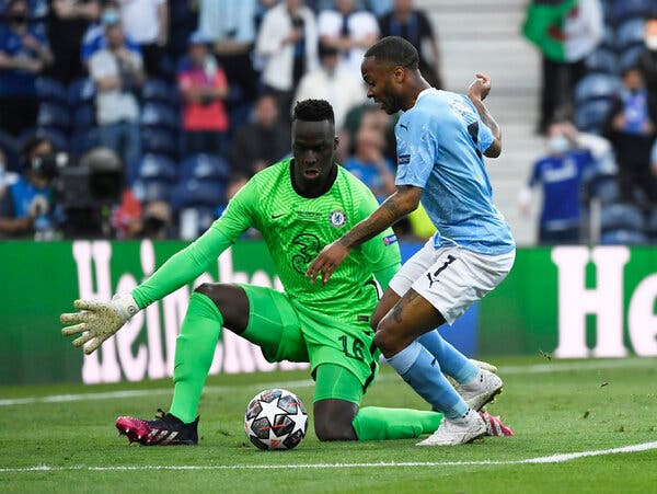 Raheem Sterling's early chance was thwarted by Edouard Mendy.