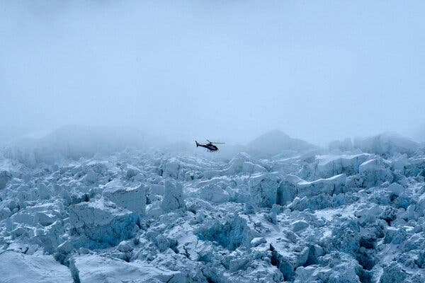 A helicopter over the Khumbu glacier, en route to the Everest base camps this month.