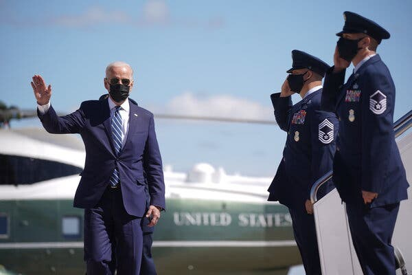President Biden boarding Air Force One en route to Louisianaon Thursday to deliver remarks on the American Jobs Plan.