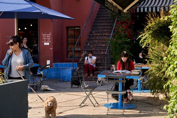 The Silver Lake neighborhood of Los Angeles on Wednesday. Many public spaces have been coming back to life as more people are vaccinated.