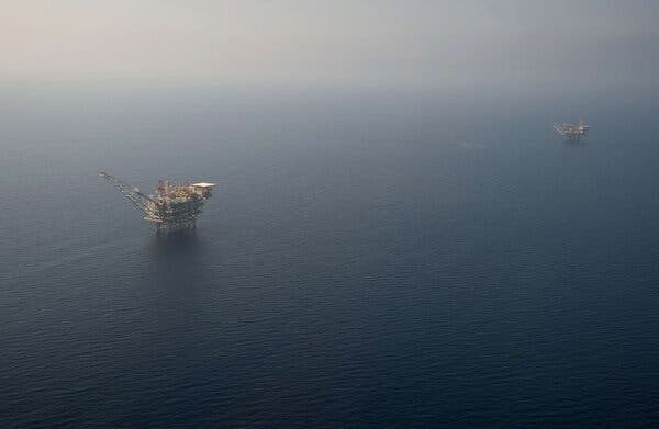 The Tamar Platform, left, is about 12 miles away from the Gaza Strip.