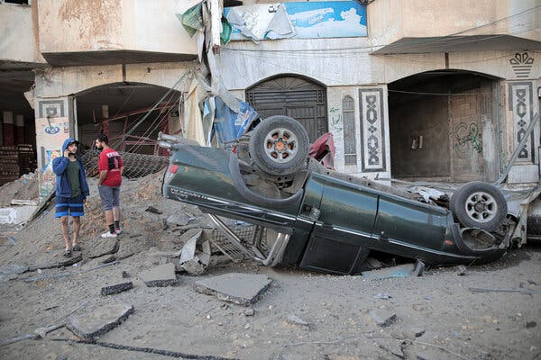 The aftermath of an Israeli airstrike in Gaza City.