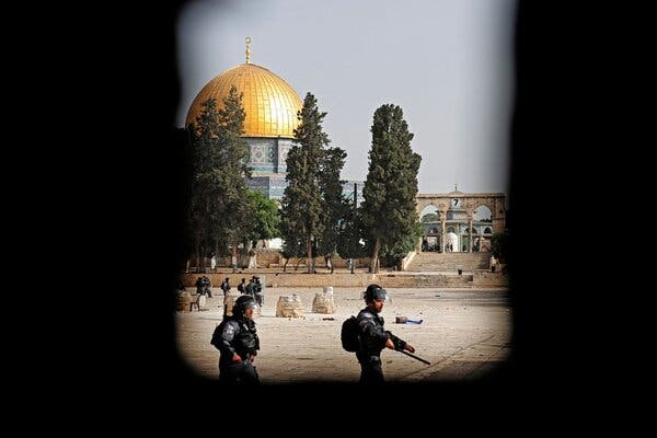Israeli security forces deployed at the Aqsa Mosque compound in Jerusalem on Monday.