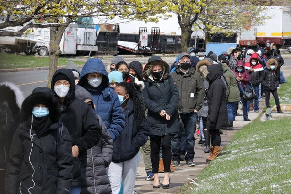 Lining up for Covid-19 vaccines in Toronto in April.