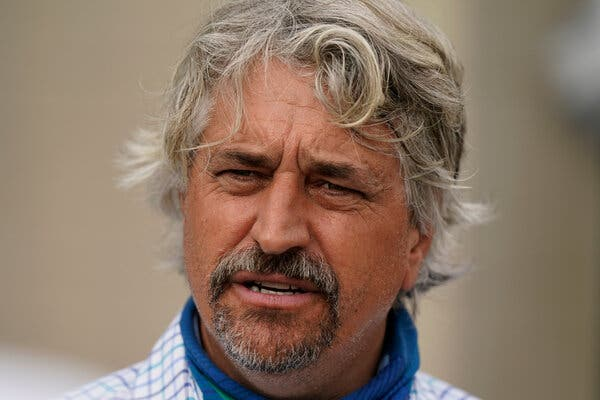 Steve Asmussen is the trainer of Midnight Bourbon, who raced in the Kentucky Derby and will now run in the Preakness Stakes.