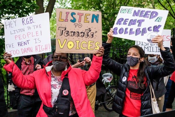 A group of activists gathered outside City Hall to call for an extension of the moratorium on evictions and for a roll back of the city's rents for tenants in New York on Monday.