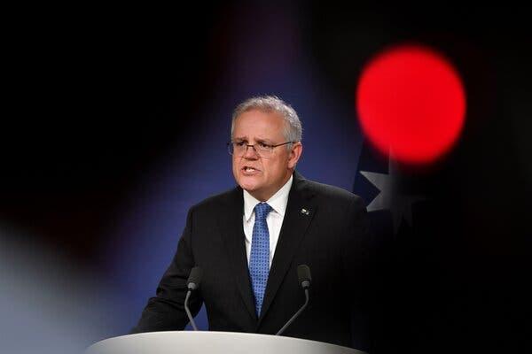 Prime Minister Scott Morrison of Australia spoke to reporters in Sydney last month.