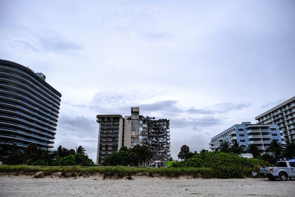 The partially collapsed condominium complex.