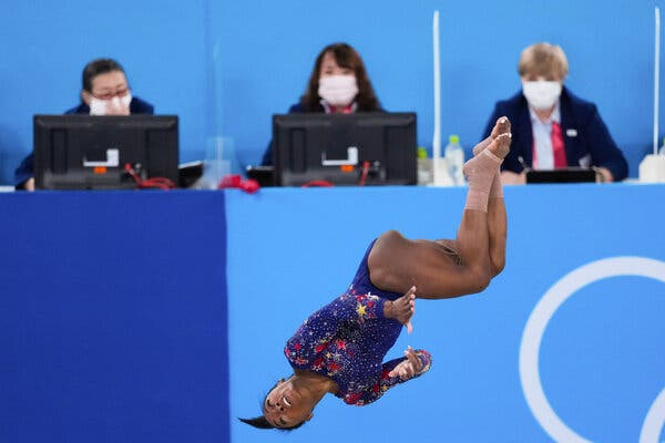 Simone Biles during the women's gymnastics qualification round of the Tokyo 2020 Olympic Games.
