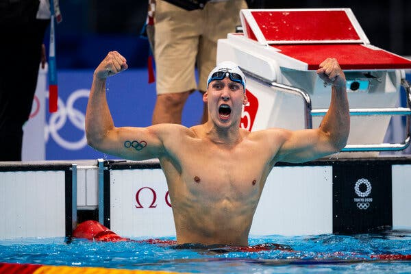 Chase Kalisz after winning gold in the 400-meter individual medley at the Tokyo Aquatics Center on Sunday.