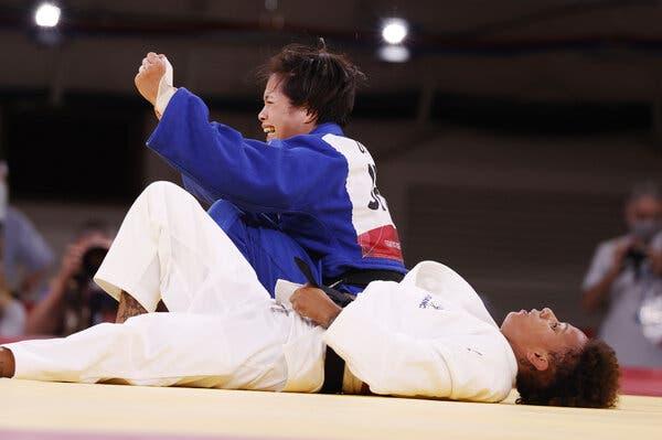 Uta Abe after she won the Women's 52kg Final Judo event.