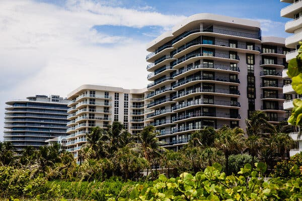 Champlain Towers North, second from right, among other high-rise condominiums in Surfside, Fla. Potential condo buyers are asking questions about the structural safety of units for sale following the collapse of its sister building, Champlain Towers South, last month.