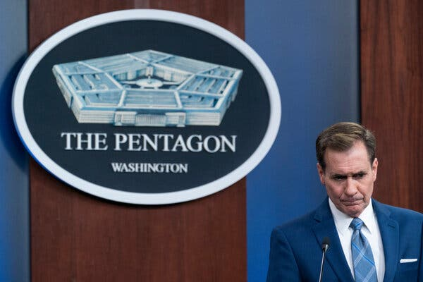 John Kirby, a Pentagon spokesman, spoke at a news briefing on Thursday.