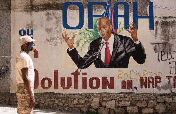 A mural of the assassinated President Jovenel Moïse near his house in Port-au-Prince, Haiti.