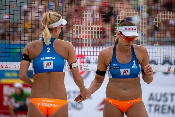 Barbora Hermannova and Marketa Slukova of the Czech Republic during a beach volleyball match in 2019.