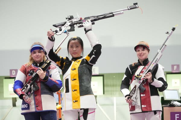 Yang Qian of China won the women's air rifle competition on Saturday, earning China the first gold medal of the 2020 Games.