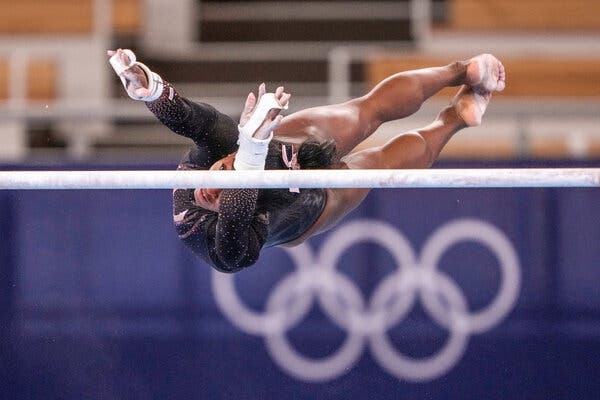 Simone Biles practicing at the gymnastics center at the Tokyo Games.