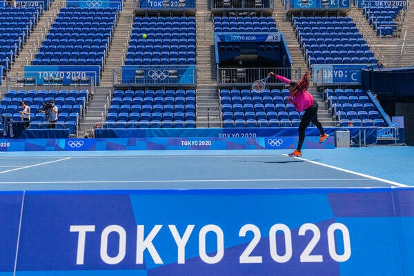 Naomi Osaka practicing in Tokyo on Thursday. Coverage of the first round of tennis singles and doubles continues on Saturday.