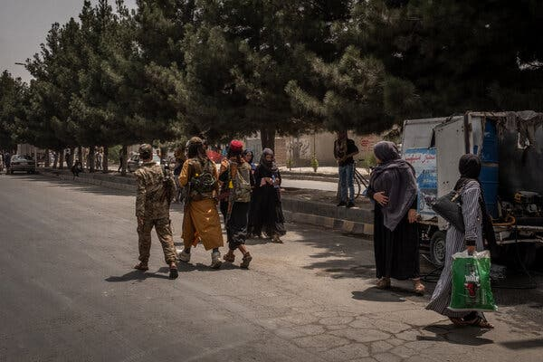 Taliban fighters patrolling in Kabul, the Afghan capital, on Wednesday.