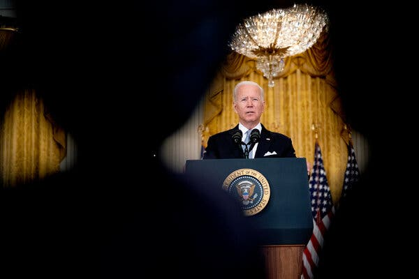 President Biden discussing Afghanistan at the White House on Monday.