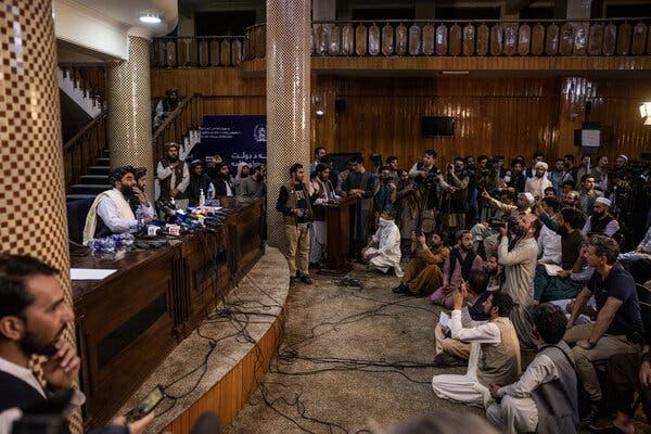 The Taliban spokesman Zabihullah Mujahid addressed reporters in Kabul on Tuesday.