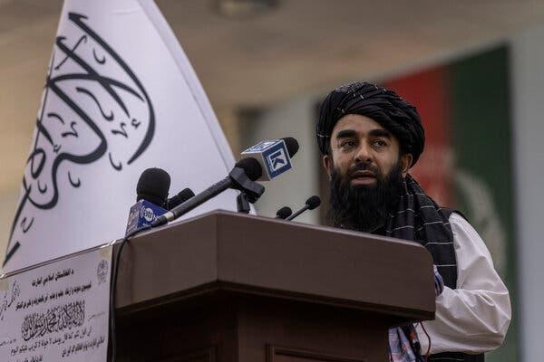 Zabihullah Mujahid, the Taliban's chief spokesman, spoke at the Loya Jirga Hall on Monday before hundreds of religious leaders.