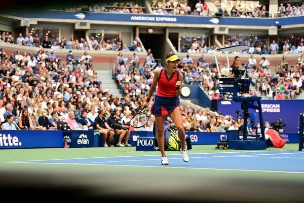 Emma Raducanu during the first set.