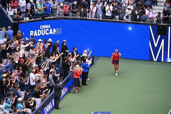 Emma Raducanu entering Arthur Ashe Stadium for the women's singles final at the U.S. Open on Saturday.