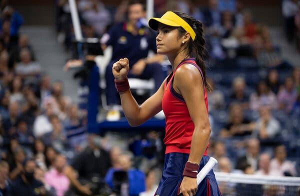 Emma Raducanu during her semifinal win.